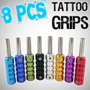 8pcs Lot Ultra Slim Tattoo Machine Grips Lightweight Aluminium Alloy w/ Stem