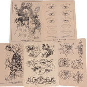 5 x Sheets of Assorted Mixed Designs Tattoo Tattooing Practise Skins for Needle Machine Supply 20cm X 15cm