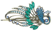 . Lovely Vintage Jewellery Crystal Green Peacock Hair Clips for hair clip Beauty Tools-Blue
