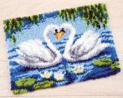 Vervaco Swan Couple Latch Hook Kit Rug Kit 60cm x 41cm