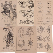 6 x Sheets of Assorted Mixed Designs Tattoo Tattooing Practise Skins for Needle Machine Supply 20cm X 15cm