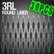 30pcs 3RL Round Liner Disposable Tattoo Needle 1.9cm Grip Tube Tip Sterilised