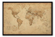 World Map Poster Ye Old Parchment Black Framed & Satin Matt Laminated - 96.5 x 66 cms