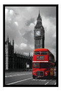 Routemaster & Big Ben Red London Bus Poster Black Framed - 96.5 x 66 cms