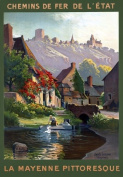 "T89 Vintage French Picturesque Mayenne France Travel Poster Re-Print - A4 (297 x 210mm) 11.7"" x 8.3"""