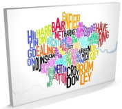 London UK Text Map Canvas Art Print, 60cm x 90cm (A1) - 129