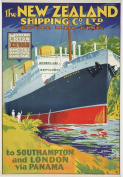 Vintage Travel NEW ZEALAND Via SOUTHAMPTON, LONDON and PANAMA 250gsm ART CARD Gloss A3 Reproduction Poster