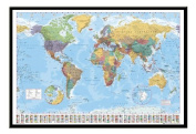 World Map Poster With Country Flags Black Framed - 96.5 x 66 cms