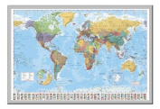 World Map Poster With Country Flags Silver Framed - 96.5 x 66 cms