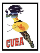 Cuba Travel Print Black Framed - 41 x 31 cms