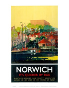 Norwich It's Quicker By Rail LNER Railway Print - 11 x 14 Inches