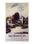 Norwich Norfolk Quicker By Rail LNER Railway Print - 11 x 14 Inches