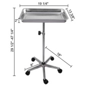 Tattoo Body Piercing Instrument Rolling Mayo Stand - Chrome Centre Post Deep Tray