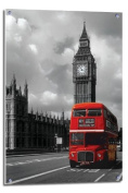 Routemaster & Big Ben Red London Bus Poster Float Mounted - 90 x 60cms