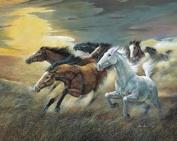 Wallsthatspeak 4 Wild Horses Vintage Art Prints Western Decor Pictures 41cm X 50cm