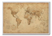 World Map Poster Ye Old Parchment Silver Framed & Satin Matt Laminated - 96.5 x 66 cms