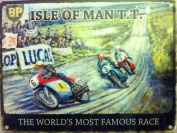 ISLE OF MAN T.T. worlds most famous motor bike race mini metal sign 20cm x15cm