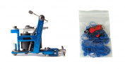 Technical Tattoo Supply Blue Hybrid - Professional Tattoo Machine Plus 100 Blue Rubber Bands