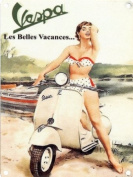 A Vintage Vespa Tin Sign 15x20cm