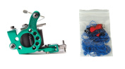 Technical Tattoo Supply Green Telephone Dial - Professional Tattoo Machine Plus 100 Blue Rubber Bands