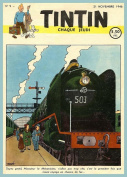 Vintage TINTIN Artwork for RAILWAY ADVENTURE Cover Art 250gsm Gloss ART CARD A3 Reproduction Poster