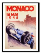 Monaco 1964 Racing Print Black Framed - 41 x 31 cms