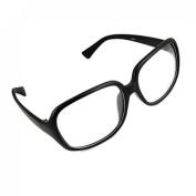 Black Rubberized Plastic Full Frame Oversized Clear Lens Glasses for Ladies