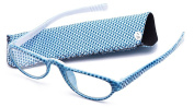 Eye-Zoom Slim Light Weight Chequered Design Temple Chequered Pouch High Fashion Reading Glasses