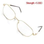 +5.00 Gold Tone Metal Full Rim Optical Reading Glasses