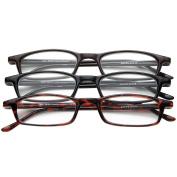 Half Eye Style Magnifying Reading Glasses +1.50 Set of 3 Pairs ValuPac