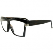 Unisex Vintage Style Angular Glasses with Clear Lenses In Black
