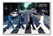 The Beatles Poster Abbey Road Silver Framed & Satin Matt Laminated - 96.5 x 66 cms