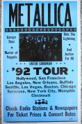 Ron's Past and Present Metallica 1992 Concert Tour Poster