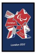 London 2012 Paralympics Union Jack Poster Black Framed & Satin Matt Laminated - 96.5 x 66 cms