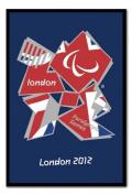 London 2012 Paralympics Union Jack Poster Black Framed - 96.5 x 66 cms