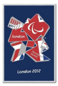 London 2012 Paralympics Union Jack Poster Silver Framed & Satin Matt Laminated - 96.5 x 66 cms
