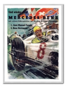 Mercedes Benz Racing Print Silver Framed - 41 x 31 cms