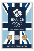 Team GB Our Greatest Team Medal Count Poster Silver Framed - 96.5 x 66 cms