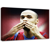 Thierry Henry Barcelona Football Canvas Art Print Poster