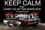 Supernatural Keep Calm And Carry On Signed PP x3 Jensen Ackles Jared Padalecki Misha Collins Unique A4 21cm x 29.7cm Poster Photo