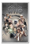 Doctor Who Doctors Through Time Poster Silver Framed & Satin Matt Laminated - 96.5 x 66 cms