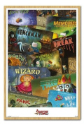 Adventure Time Episodes Poster Beech Framed - 96.5 x 66 cms