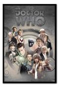 Doctor Who Doctors Through Time Poster Black Framed & Satin Matt Laminated - 96.5 x 66 cms