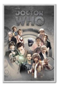 Doctor Who Doctors Through Time Poster Silver Framed - 96.5 x 66 cms