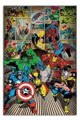 Marvel Comics Here Come The Heroes Poster - 91.5 x 61cms (36 x 24 Inches)