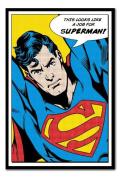 Superman Looks Like A Job For Superman Poster Black Framed - 96.5 x 66 cms