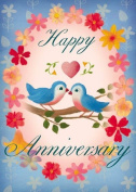 Happy Anniversary, Blue birds, Greetings Card