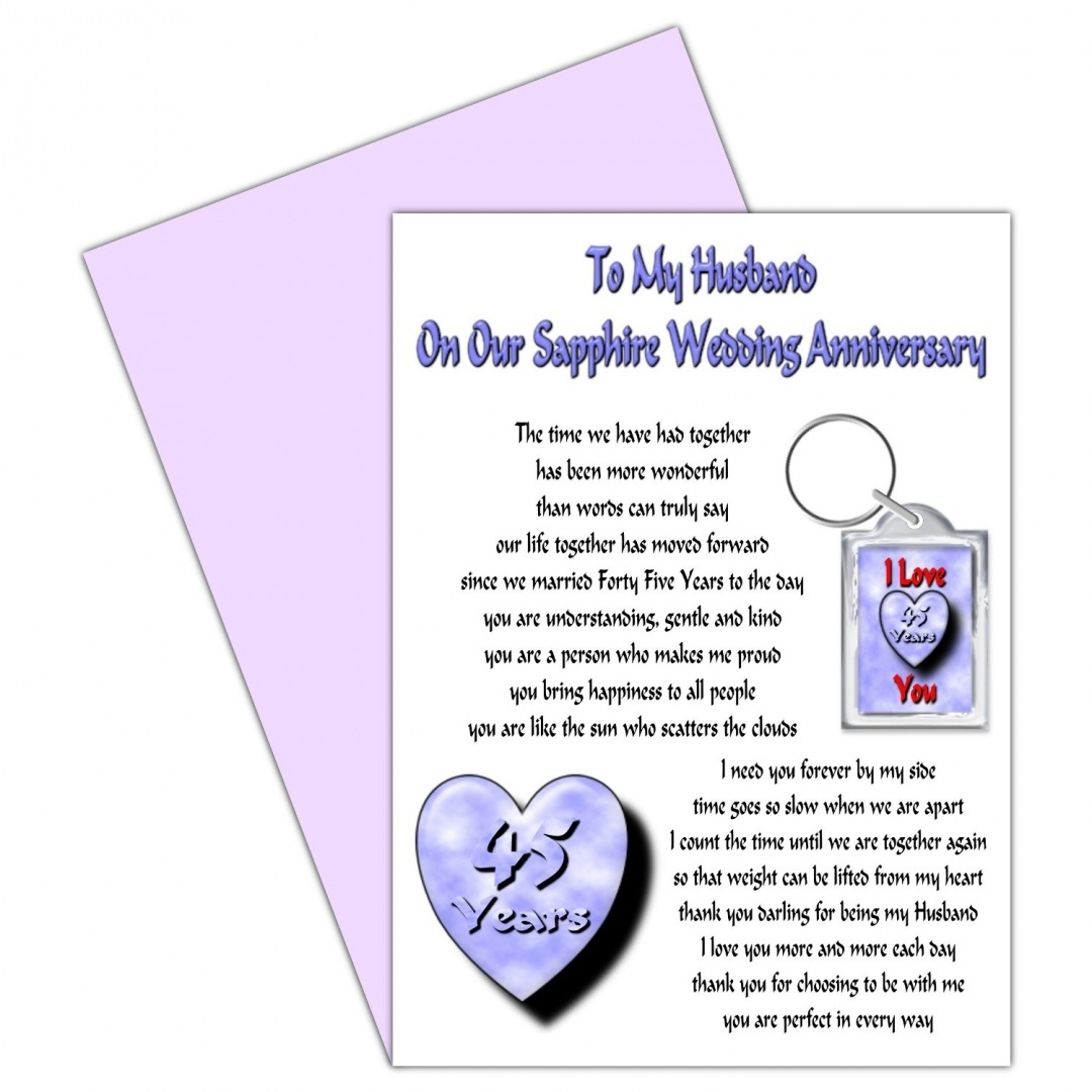 husband 45th wedding anniversary card with removable keyring gift