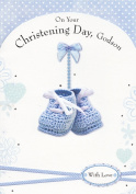 On Your Christening Day, Godson - Blue Booties Christening Card