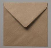 100 x 15.5cm Square Plain Flecked Recycled Kraft Card Envelopes Natural Brown